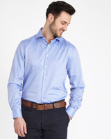 blue Paul Costelloe Living Regular Fit Smart Herringbone Shirt