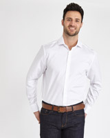 white Paul Costelloe Living Regular Fit Yarn Dye Dobby Shirt