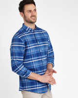 denim Paul Costelloe Living Regular Fit Indigo Checked Shirt
