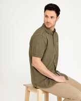khaki Paul Costelloe Living Pigment Dyed Linen-Mix Shirt