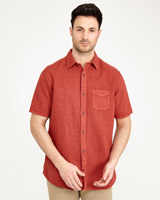 red Paul Costelloe Living Pigment Dyed Linen-Mix Shirt