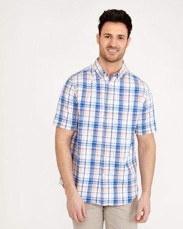 coralPaul Costelloe Living Short Sleeve Check Oxford Shirt
