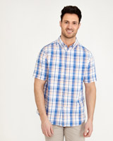 coral Paul Costelloe Living Short Sleeve Check Oxford Shirt