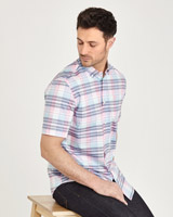 pink Paul Costelloe Living Short Sleeve Check Oxford Shirt