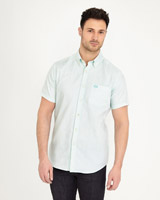 light-green Paul Costelloe Living Slim Fit Short-Sleeved Dobby Shirt