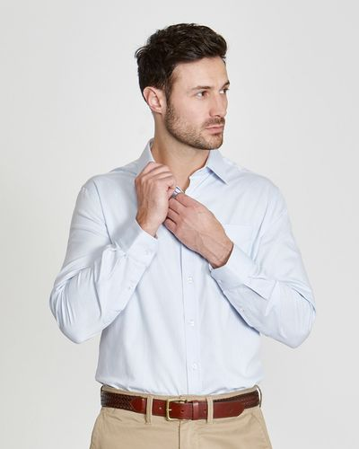 Paul Costelloe Living Regular Fit Blue Textured Dobby Shirt