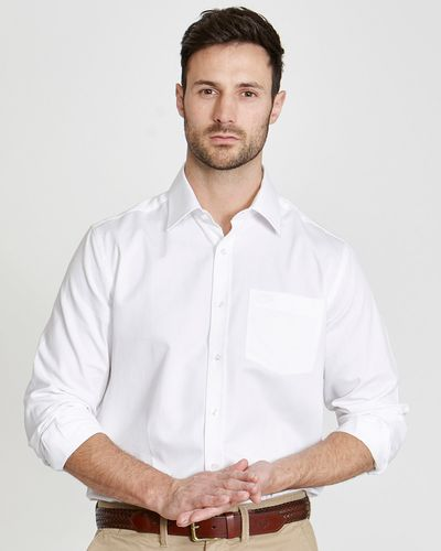 Paul Costelloe Living Regular Fit White Textured Dobby Shirt