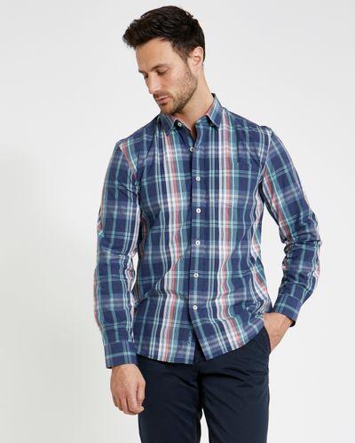 Paul Costelloe Living Aqua Melange Regular Fit Check Shirt