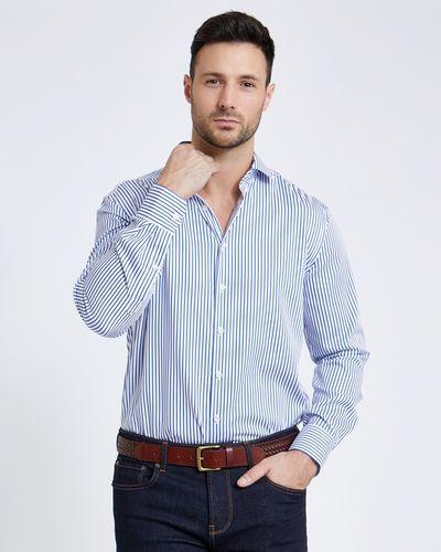 Paul Costelloe Living Yarn Dye Regular Fit Sateen Stripe Shirt