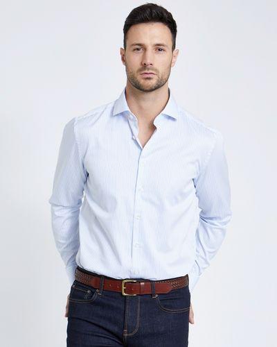 Paul Costelloe Living Blue Regular Fit Stripe Sateen Shirt