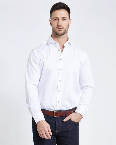 Paul Costelloe Living White Sateen Regular Fit Formal Shirt
