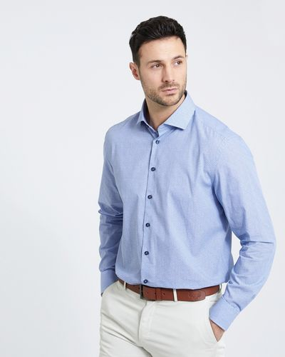 Paul Costelloe Living Regular Fit Denim Print Formal Shirt