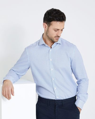 Paul Costelloe Living Regular Fit Blue Dobby Print Shirt