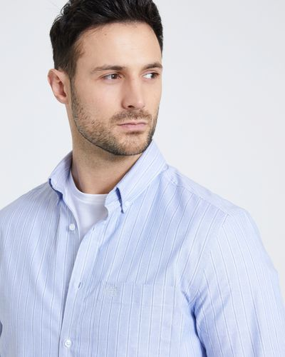 Paul Costelloe Living Regular Fit Blue Oxford Stripe Shirt