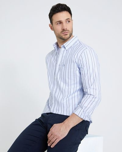 Paul Costelloe Living Regular Fit Navy Oxford Stripe Shirt