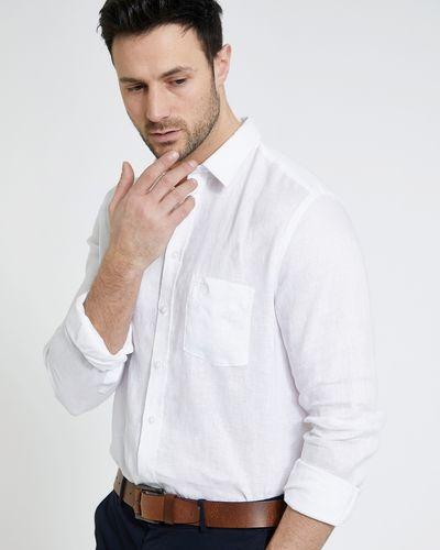 Paul Costelloe Living White Long-Sleeved Linen Shirt