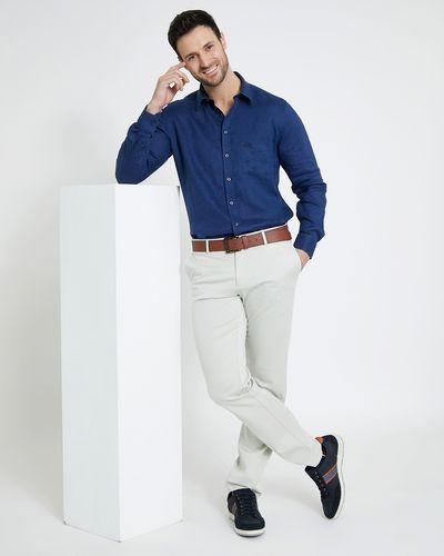 Paul Costelloe Living Regular Fit Navy Long-Sleeved Linen Shirt