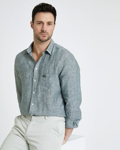 Paul Costelloe Living Green Long-Sleeved Linen Shirt