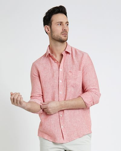 Paul Costelloe Living Regular Fit Coral Long-Sleeved Linen Shirt