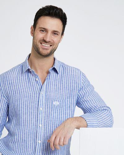 Paul Costelloe Living Navy Stripe Long-Sleeved Linen Shirt