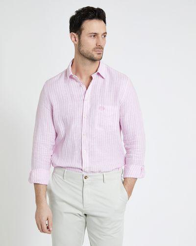 Paul Costelloe Living Pink Stripe Long-Sleeved 100% Linen Shirt