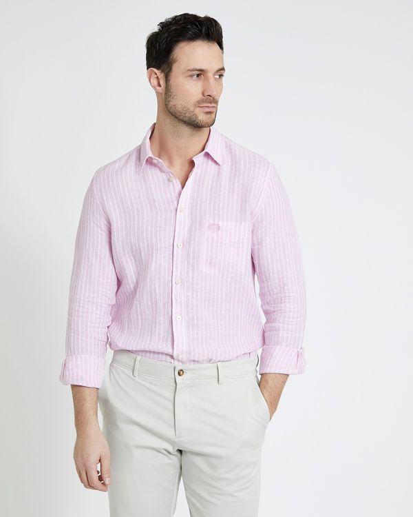 Paul Costelloe Living Pink Stripe Long-Sleeved Linen Shirt