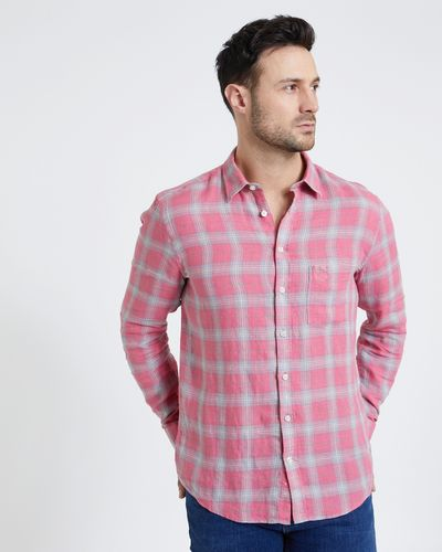 Paul Costelloe Living Coral Long-Sleeved Check 100% Linen Shirt