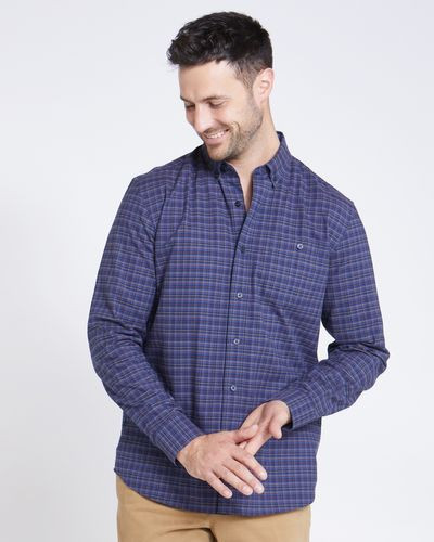 Paul Costelloe Living Regular Fit Navy Mustard Mini Check Shirt