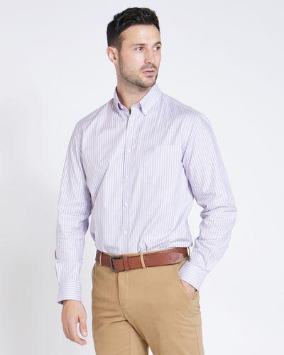 Paul Costelloe Living Regular Fit Burgundy Stripe Oxford Shirt