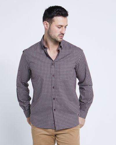 Paul Costelloe Living Regular Fit Brown Mini Check Shirt