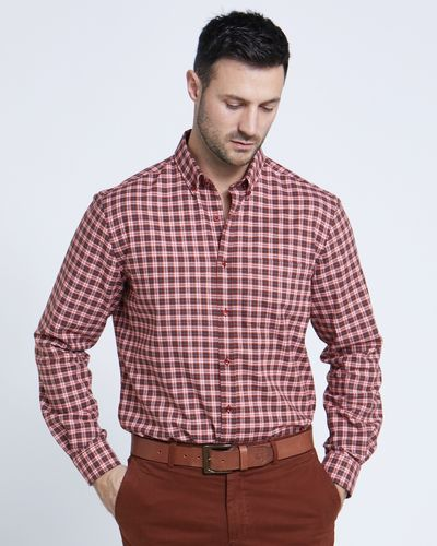 Paul Costelloe Living Regular Fit Rust Mini Check Shirt