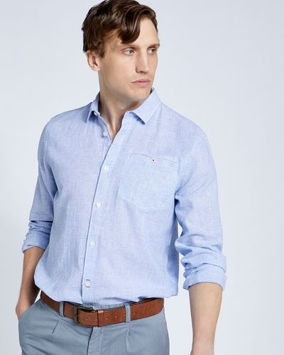 Paul Costelloe Living Regular Fit Linen Blend Texture Shirt