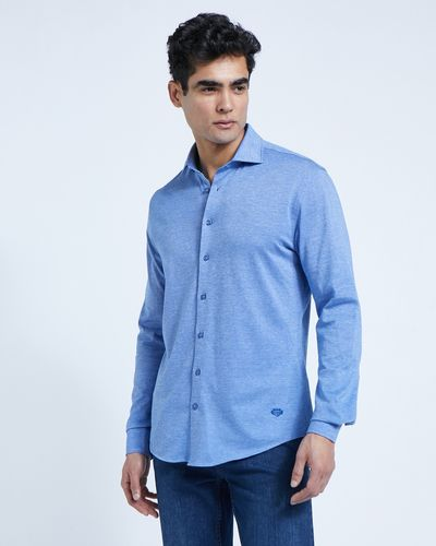 Paul Costelloe Living Blue Knitted Slim Fit Shirt