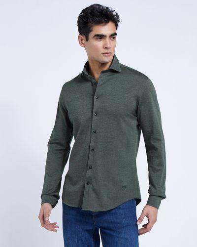 Paul Costelloe Living Green Knitted Slim Fit Shirt