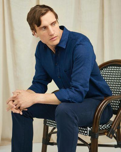 Paul Costelloe Living Regular Fit Navy Long Sleeve 100% Linen Shirt
