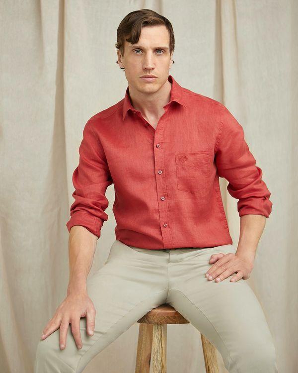 Paul Costelloe Living Regular Fit Rust Long Sleeve 100% Linen Shirt