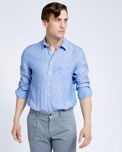 Paul Costelloe Living Regular Fit Blue Long Sleeve 100% Linen Shirt