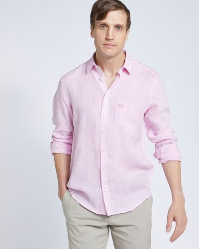 Paul Costelloe Living Regular Fit Pink Long Sleeve 100% Linen Shirt