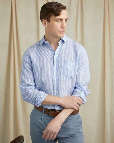 Paul Costelloe Living Regular Fit Navy Stripe Long Sleeve 100% Linen Shirt