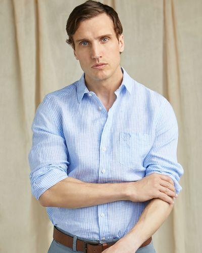 Paul Costelloe Living Blue Stripe Long Sleeve 100% Linen Shirt