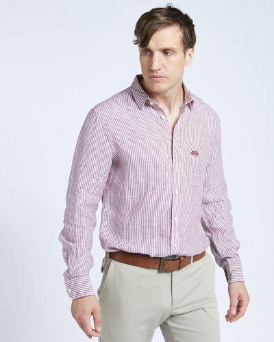 Paul Costelloe Living Regular Fit Rust Stripe Long Sleeve 100% Linen Shirt