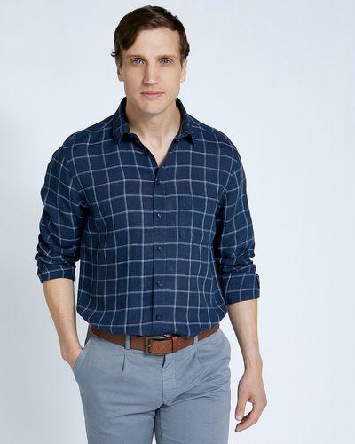 Paul Costelloe Living Regular Fit Navy Check Long Sleeve 100% Linen Shirt