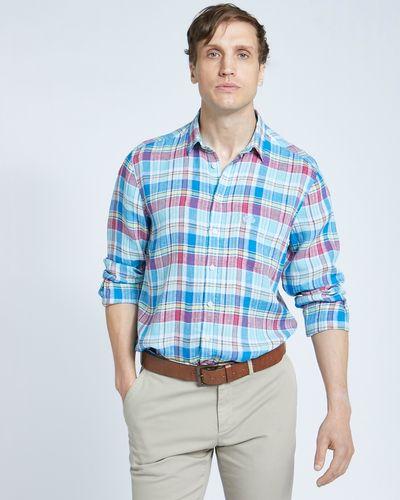 Paul Costelloe Living Regular Fit Blue Check Long Sleeved 100% Linen Shirt