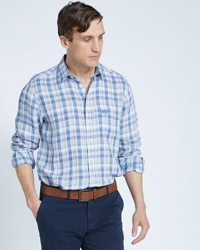 Paul Costelloe Living Regular Fit Stone Check Long Sleeved 100% Linen Shirt