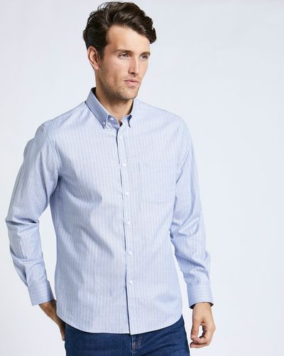 Paul Costelloe Living Brown Stripe Oxford Shirt