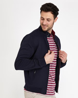 navy Paul Costelloe Living Jacquard Waffle Zip Through Jumper