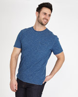 denim Paul Costelloe Living True Indigo Washed Stripe T-Shirt