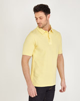 yellow Paul Costelloe Living Garment Dyed Polo Shirt