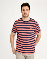 coral Paul Costelloe Living Slub Stripe T-Shirt