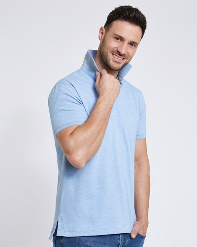 Paul Costelloe Living Slim Fit Blue Stretch Pique Polo